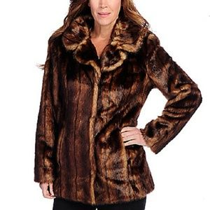 NEW Pamela McCoy Faur Fur Golden Ranch Midi Coat